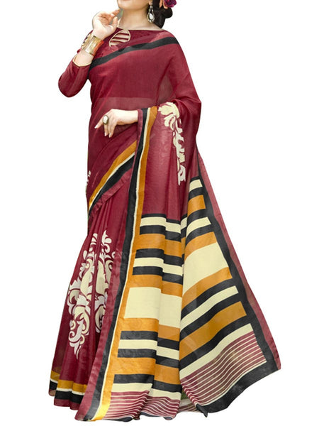 Saree From West Bengal In Maroon - PWBSAI19JN129