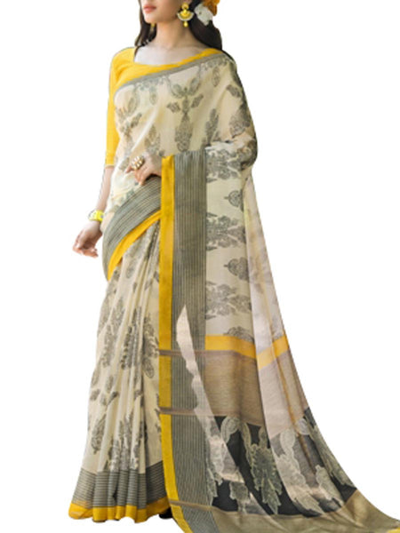 Saree From West Bengal In Beige And Ass - PWBSAI19JN130