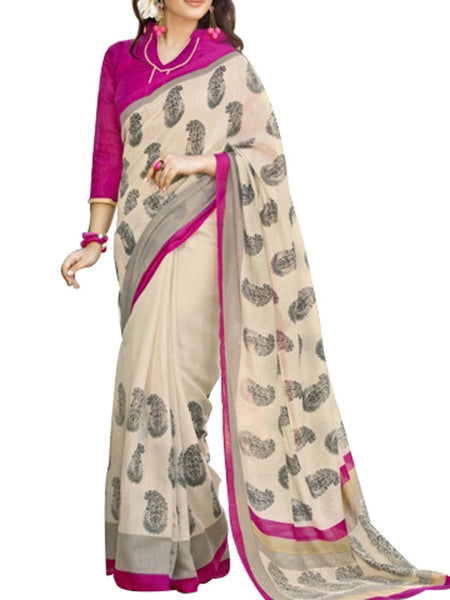 Saree From West Bengal In Beige - PWBSAI19JN135