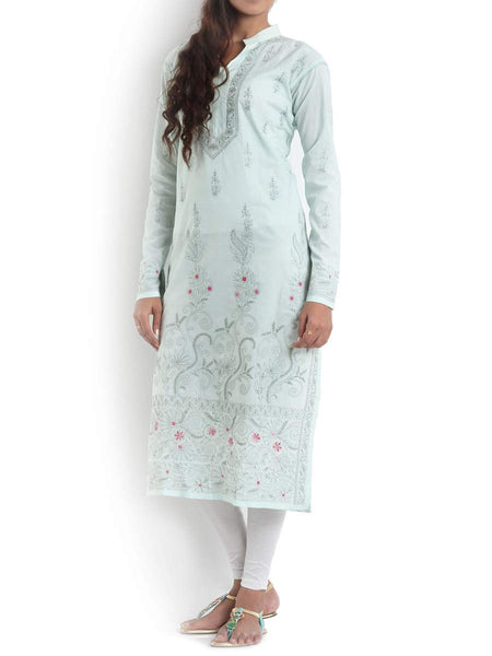 Light Green Kurta With Green Colour Chikankari - KPLUK28JL21