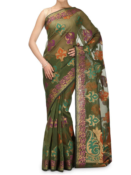 Banarasi Saree In Faux Mehandi - RB-BPBUSA25FB27