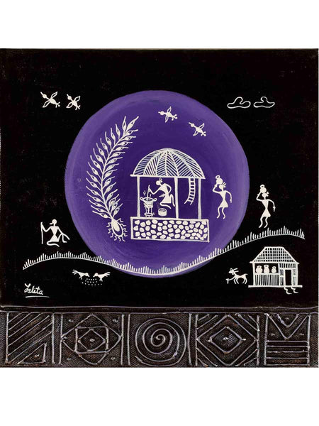 Acrylic on canvas Black Purple Circle Warli Painting - K1-WMDP18FB23