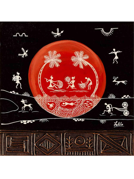 Acrylic on canvas Black Red Circle Warli Painting - K1-WMDP18FB24