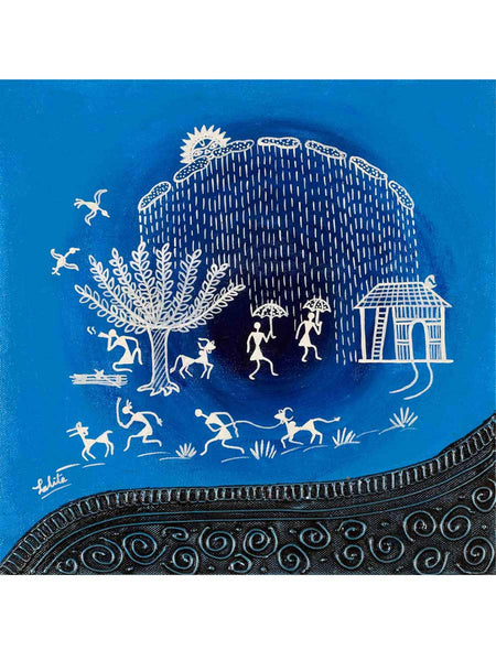 Acrylic on canvas Blue Circle Warli Painting - K1-WMDP18FB26