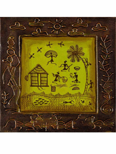 Acrylic on canvas Leaf Green Warli Painting - K1-WMDP18FB29