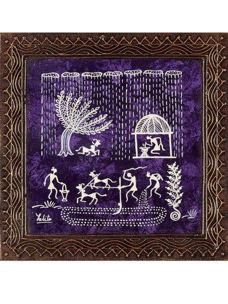 Acrylic on canvas Mauve Warli Painting - K1-WMDP18FB35