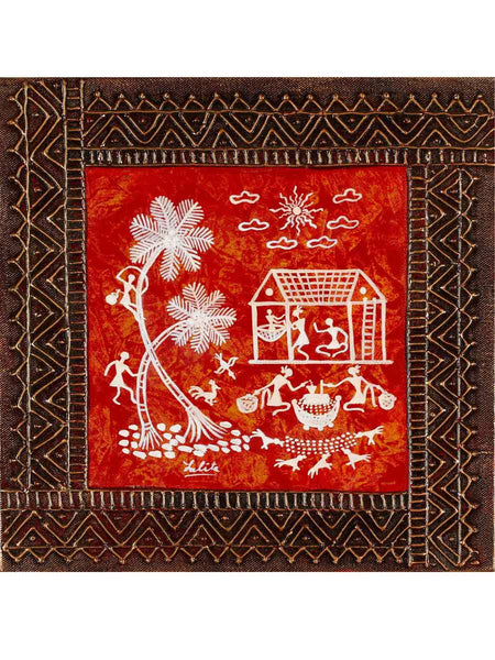 Acrylic on canvas Red 4 Snakhi Warli Painting - K1-WMDP18FB37