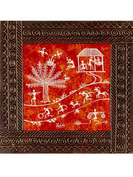 Acrylic on canvas Red 4 Snakhi Warli Painting - K1-WMDP18FB38