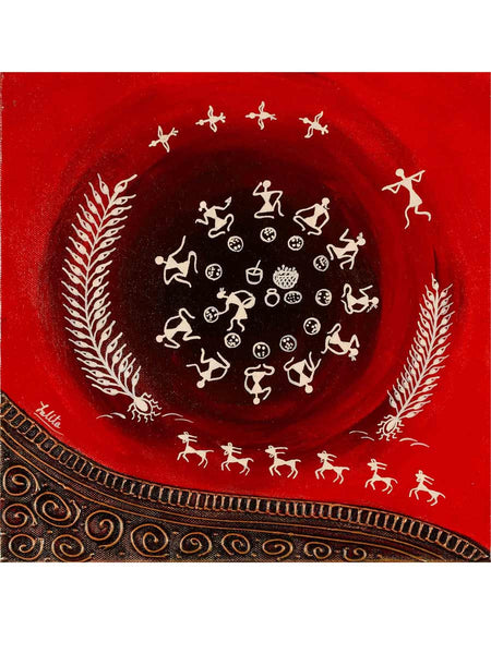Acrylic on canvas Red Circle New Warli Painting - K1-WMDP18FB39