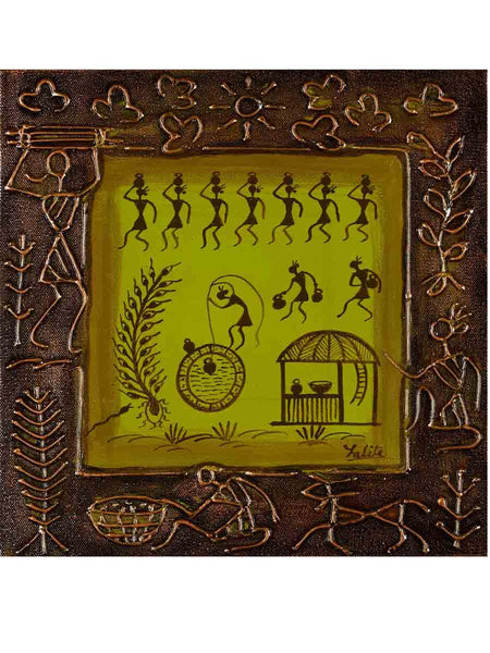 Acrylic on canvas Leaf Green Warli Painting - K1-WMDP18FB19