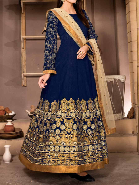 Embroidered Banglori Silk Anarkali Suit From Surat In Blue - ST-PSSA28SP7