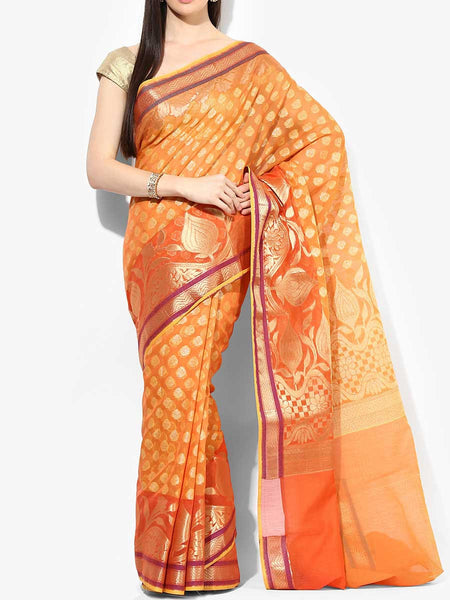 Banarasi Saree In Supernet Orange - RB-BPBUSA11JL287