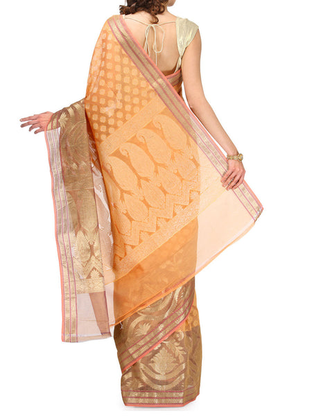 Banarasi Saree In Supernet Peach - RB-BPBUSA11JL30