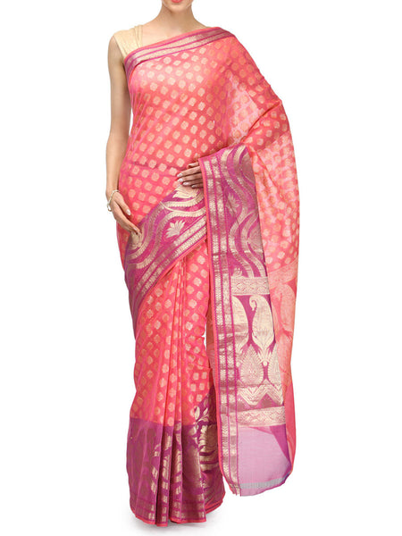 Banarasi Saree In Supernet Pink - RB-BPBUSA11JL26