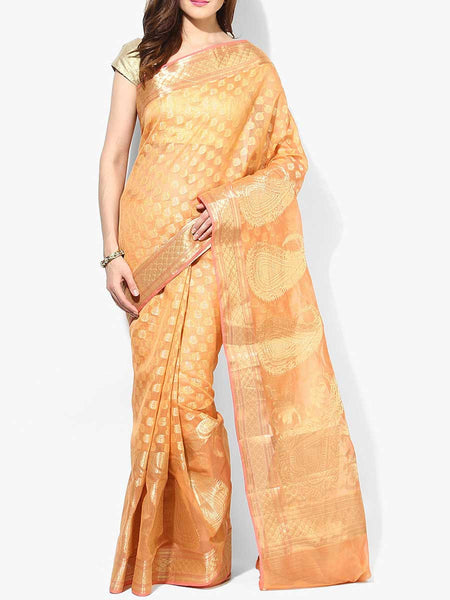 Banarasi Saree In Supernet Peach - RB-BPBUSA11JL263