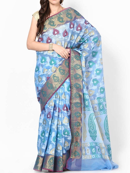 Banarasi Saree In Organza Blue - RB-BPBUSA11JL138