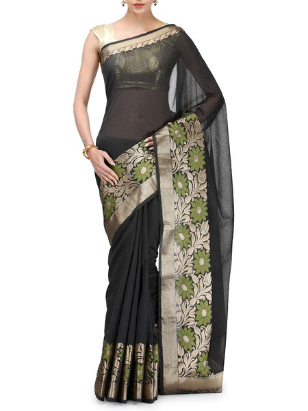 Banarasi Saree In Chanderi Black - RB-BPBUSA11JL35