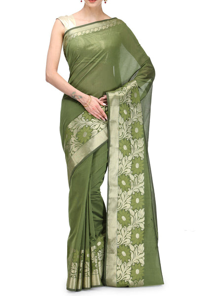 Banarasi Saree In Chanderi Mehandi Green - RB-BPBUSA11JL34