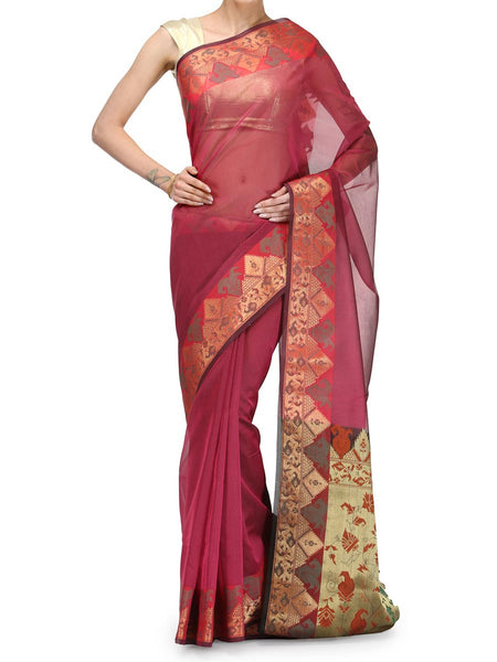 Banarasi Saree In Moonga Rani Pink - RB-BPBUSA25FB42