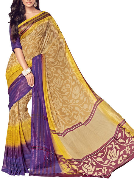 Saree From West Bengal In Yellow & Viowlet - PWBSAI19JN66