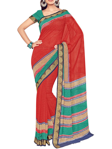 Saree From West Bengal In Red - PWBSAI19JN69