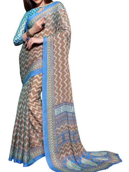 Chiffon Multi Color Saree With Chiffon Blue Blouse - PWBSAI28JL82
