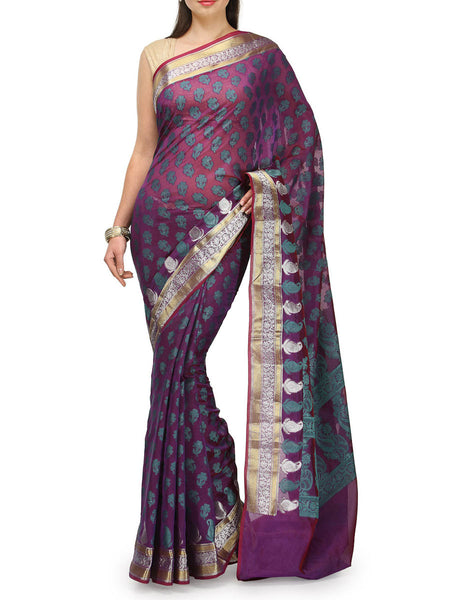 Banarasi Saree In Faux Purple - RB-BPBUSA11JL49
