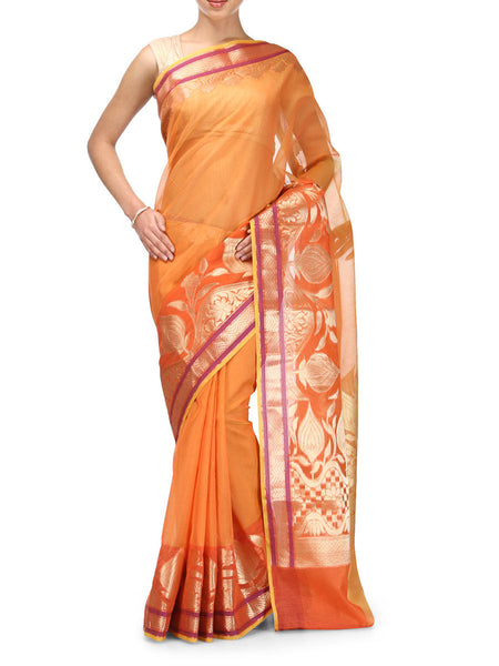 Banarasi Saree In Supernet Orange - RB-BPBUSA11JL55