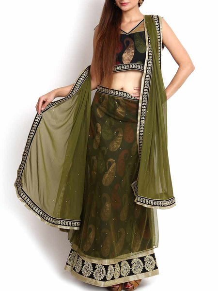 Pine Green Mermaid Cut Banarasi & Net Lehenga - KPLL27JL15