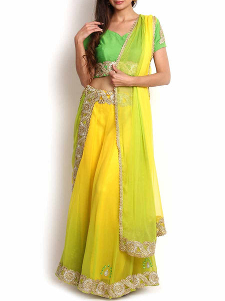 Shaded Yellow & Lime Green Georgette Lehenga - KPLL27JL31