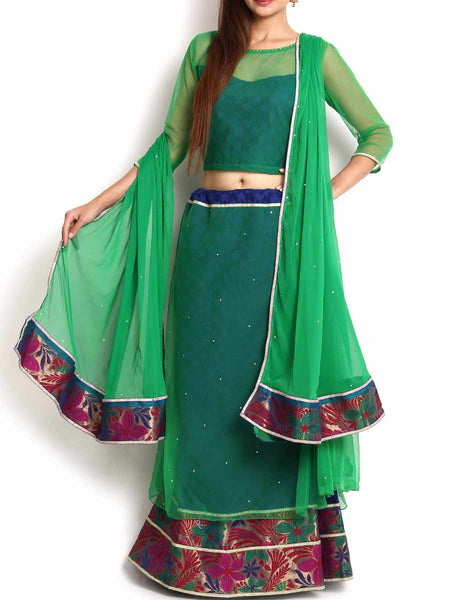 Green & Blue Mermaid Cut Banarasi & Georgette Lehenga - KPLL27JL21