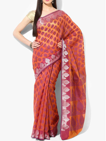 Banarasi Saree In Cotton Blend Orange - RB-BPBUSA11JL283
