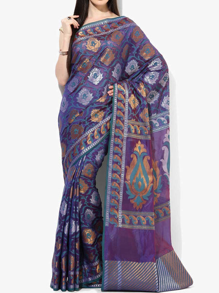 Banarasi Saree In Faux Purple - RB-BPBUSA11JL284