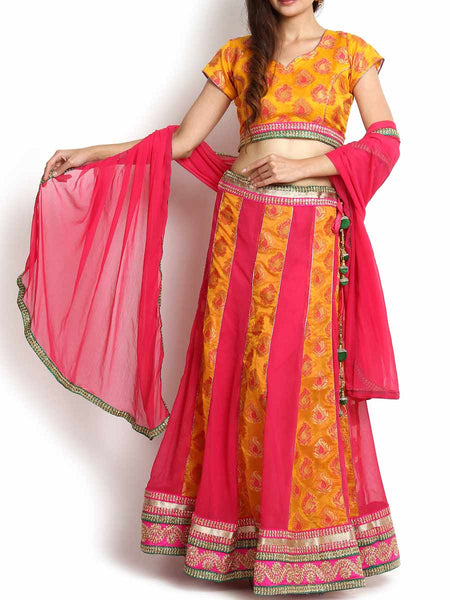 Yellow & Majenta Banarasi And Georgette Lehenga - KPLL27JL24
