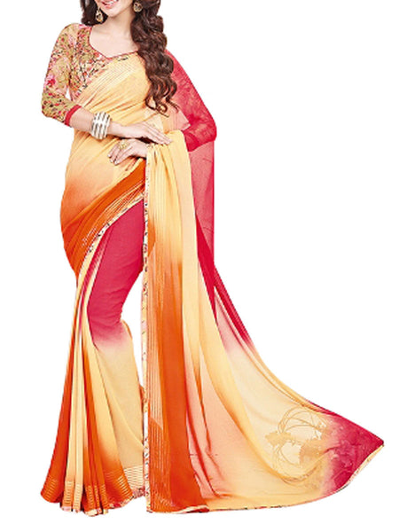 Georgette Saree From West Bengal In Yellow & Red - PWBSAI13JN1
