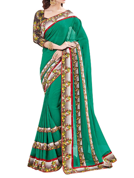 Georgette Saree From West Bengal In Green - PWBSAI13JN2
