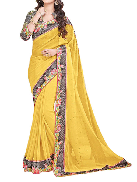 Georgette Saree From West Bengal In Yellow - PWBSAI13JN3