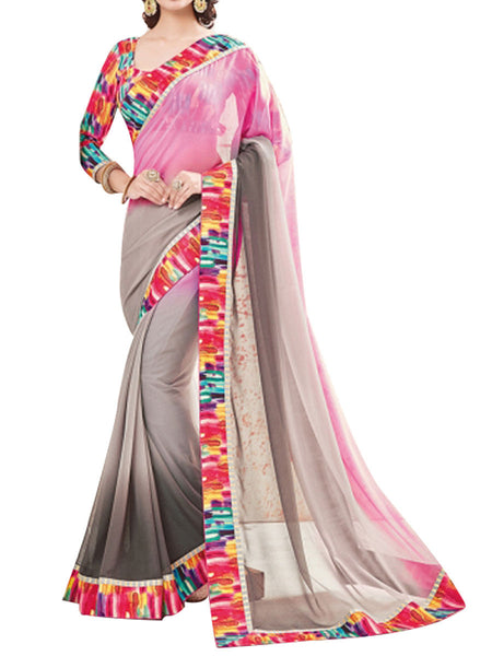 Satin Chiffon Print Saree From West Bengal In Silver & Pink - PWBSAI13JN4