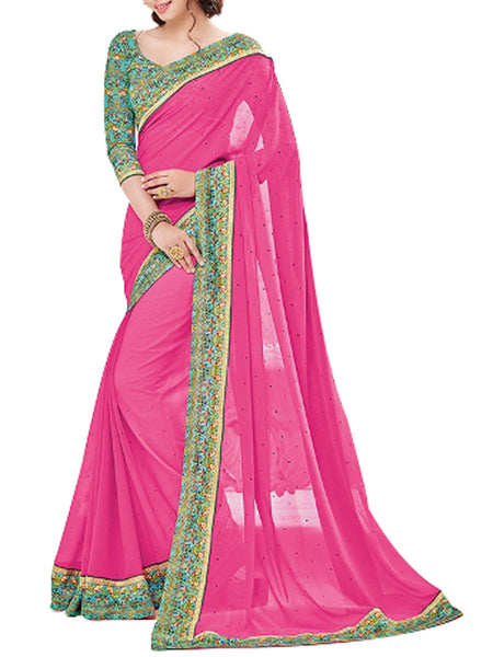 Georgette Saree From West Bengal In Pink - PWBSAI13JN7