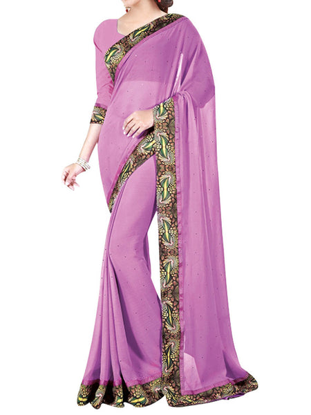 Georgette Saree From West Bengal In Purple - PWBSAI13JN9