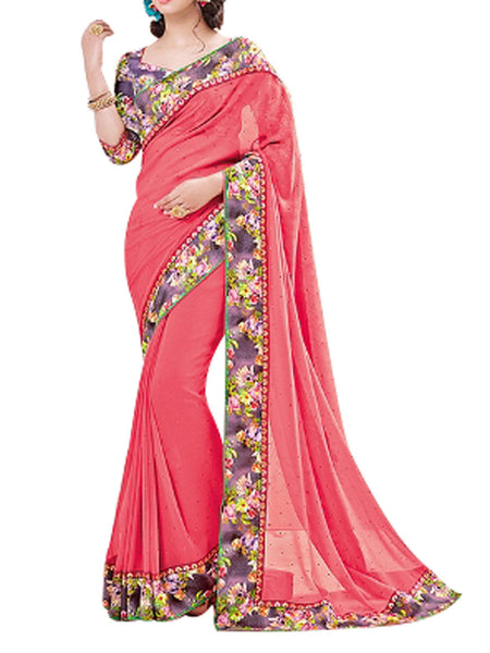 Georgette Saree From West Bengal In Red - PWBSAI13JN12