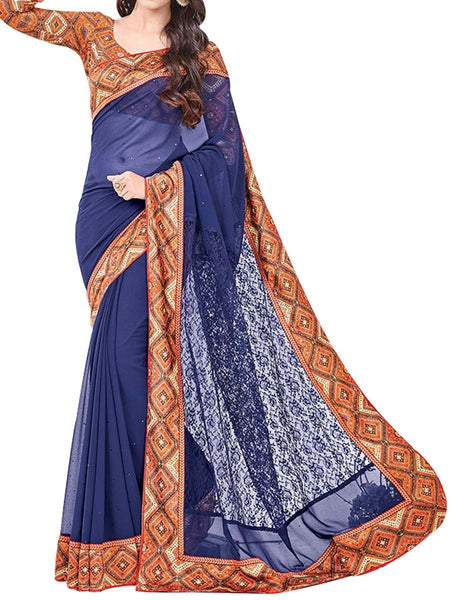 Georgette Saree From West Bengal In Nevy Blue - PWBSAI13JN13