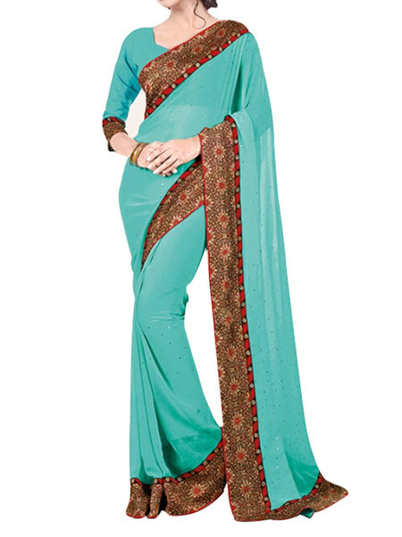 Georgette Saree From West Bengal In Sea Green - PWBSAI13JN14