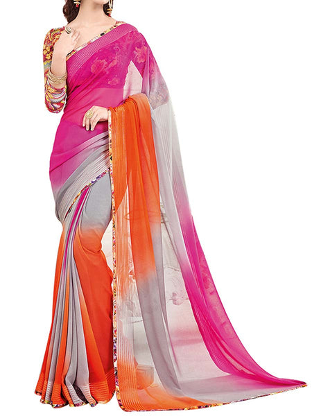 Georgette Saree From West Bengal In Pink & Orange - PWBSAI13JN15