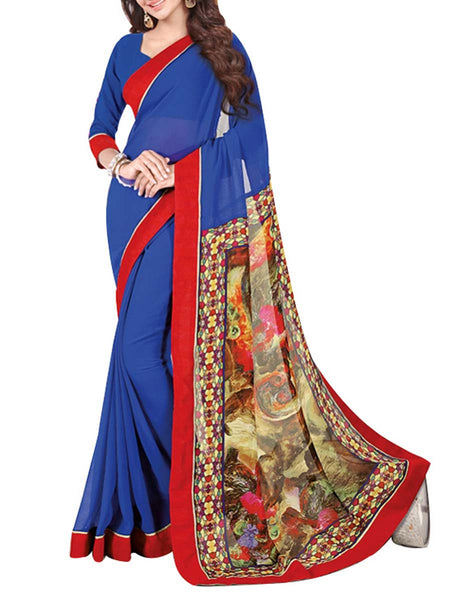 Georgette Saree From West Bengal In Red & Nevy Blue - PWBSAI13JN16