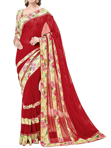 Georgette Saree From West Bengal In Red - PWBSAI13JN18