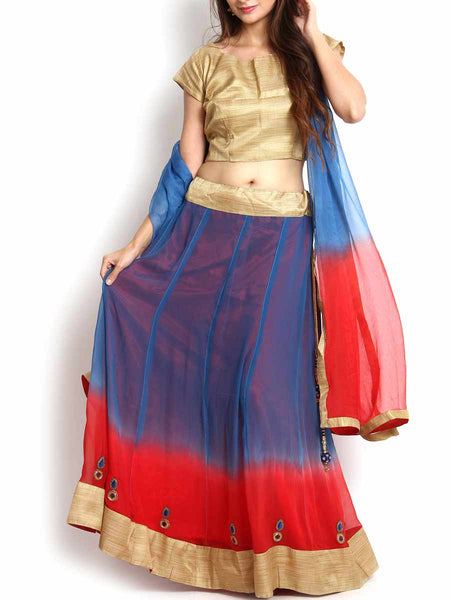 Shaded Red & Blue Georgette Lehenga - KPLL27JL13
