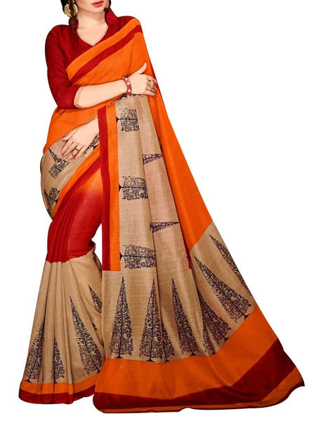 Saree From West Bengal In Golden - PWBSAI19JN121