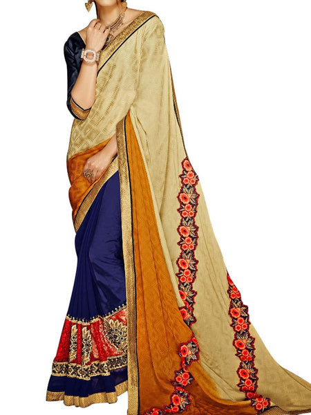 Cream & Green Jacquard  Saree With Black Art Silk Blouse - PWBSAI24MA14
