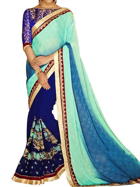 Multicolour Jacquard  Saree With Green Art Silk Blouse - PWBSAI24MA16